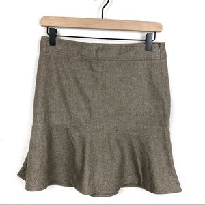 Theory Skirts - Theory Dark Tan Wool Flared Mini Skirt